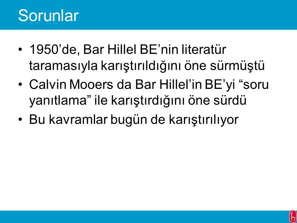 Sorunlar 1950'de, Bar Hillel BE'nin literatür taramasıyla karıştırıldığını öne sürmüştü.