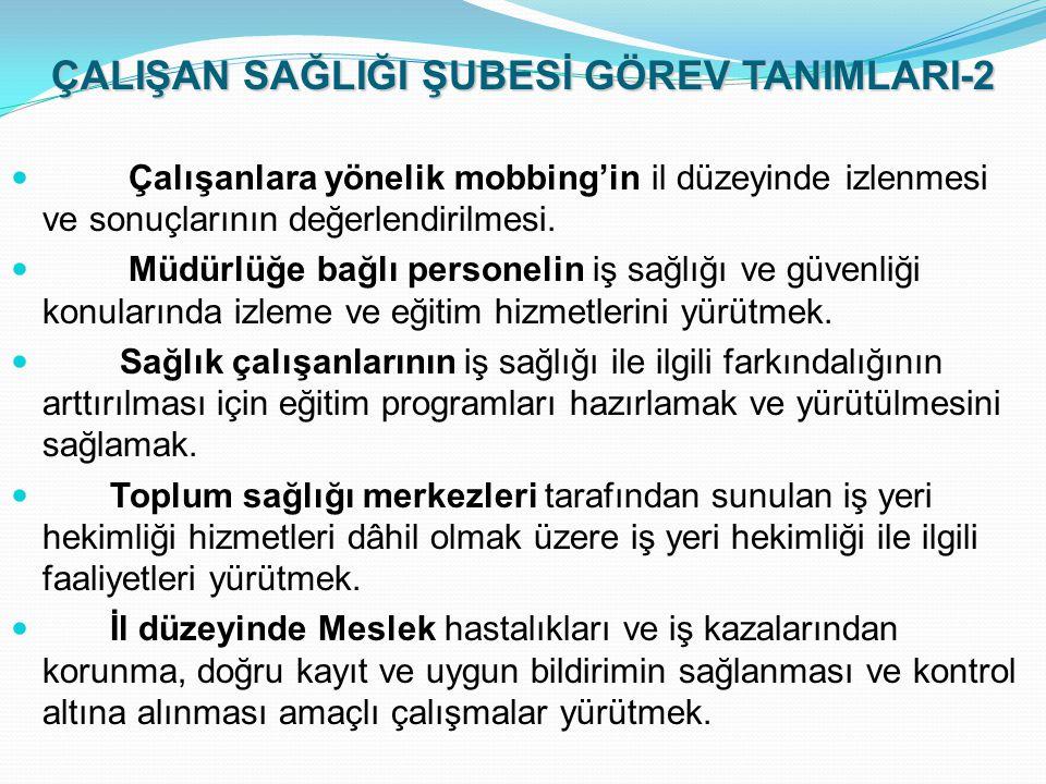 ÇALIŞAN SAĞLIĞI ŞUBESİ GÖREV TANIMLARI-2