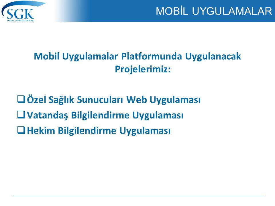 Mobil Uygulamalar Platformunda Uygulanacak Projelerimiz: