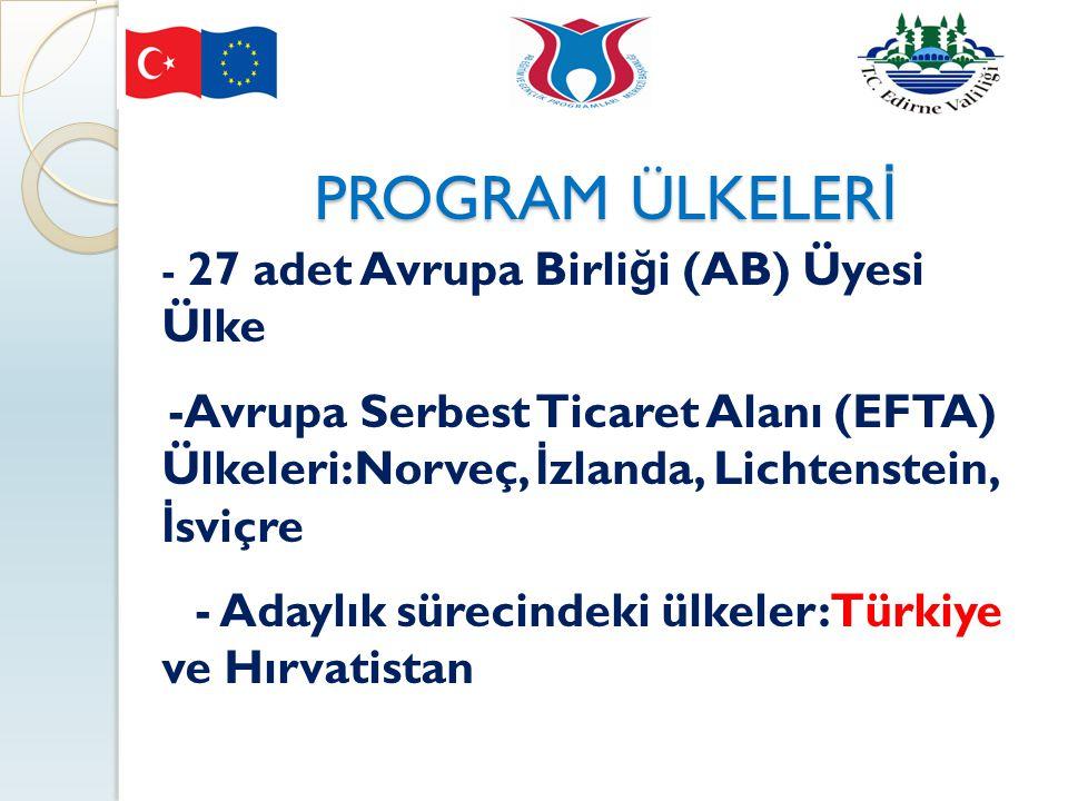 PROGRAM ÜLKELERİ - 27 adet Avrupa Birliği (AB) Üyesi Ülke. -Avrupa Serbest Ticaret Alanı (EFTA) Ülkeleri:Norveç, İzlanda, Lichtenstein, İsviçre.