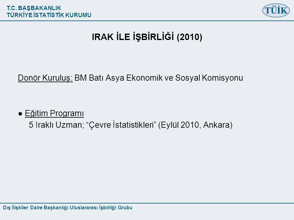 IRAK İLE İŞBİRLİĞİ (2010) Donör Kuruluş: BM Batı Asya Ekonomik ve Sosyal Komisyonu. ● Eğitim Programı.