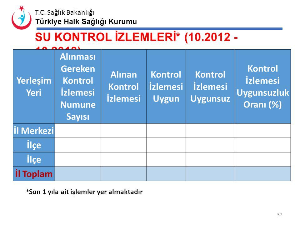 SU KONTROL İZLEMLERİ* (10.2012 - 10.2013)