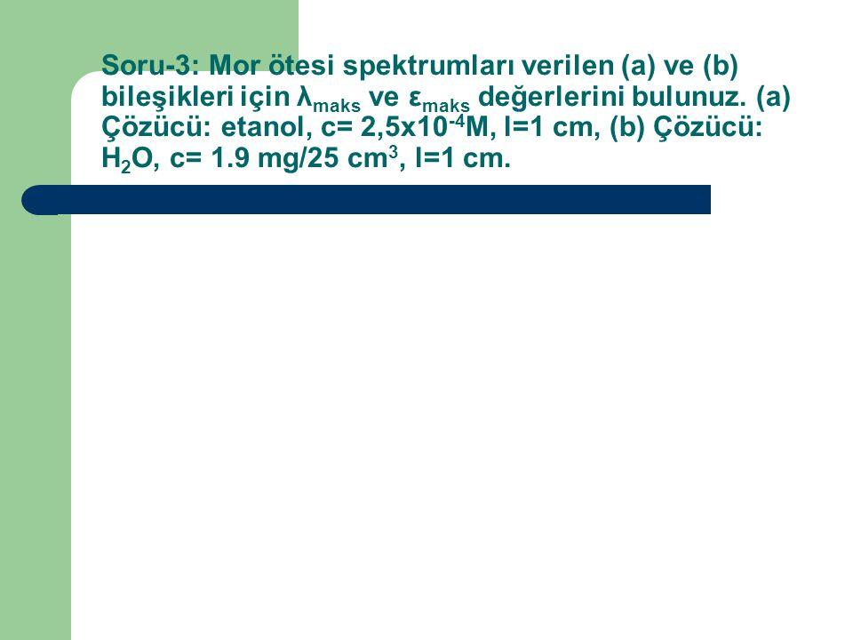 Soru-3: Mor ötesi spektrumları verilen (a) ve (b) bileşikleri için λmaks ve εmaks değerlerini bulunuz.