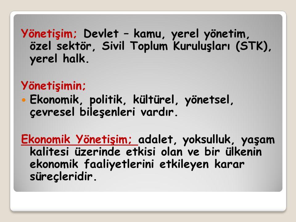 Yönetişim; Devlet – kamu, yerel yönetim, özel sektör, Sivil Toplum Kuruluşları (STK), yerel halk.