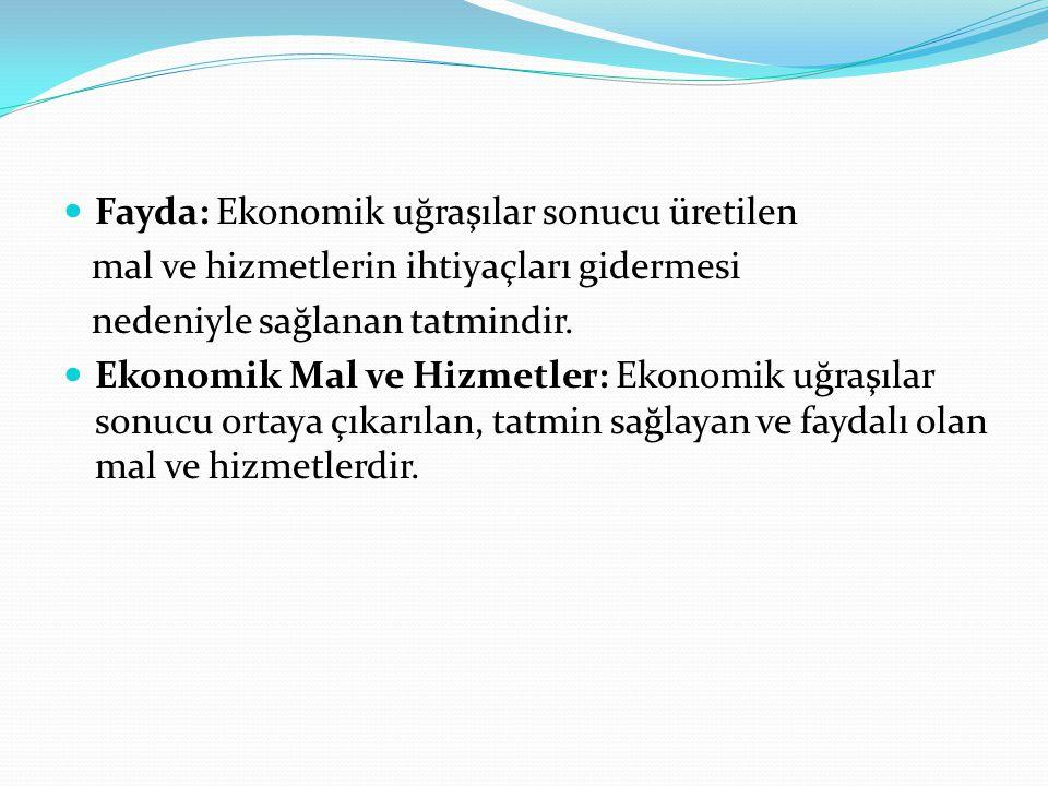 Fayda: Ekonomik uğraşılar sonucu üretilen