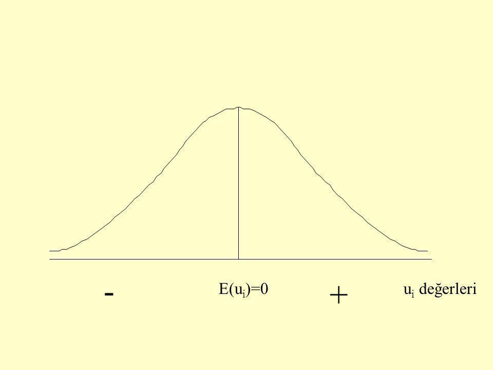 - + E(ui)=0 ui değerleri