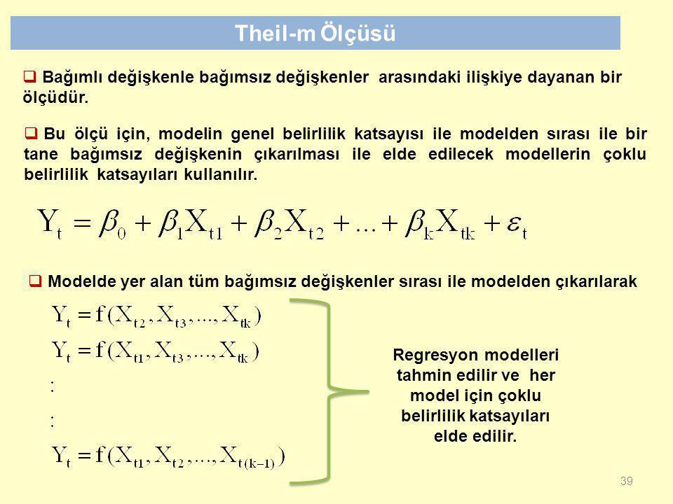Theil-m Ölçüsü Bağımlı değişkenle bağımsız değişkenler arasındaki ilişkiye dayanan bir ölçüdür.