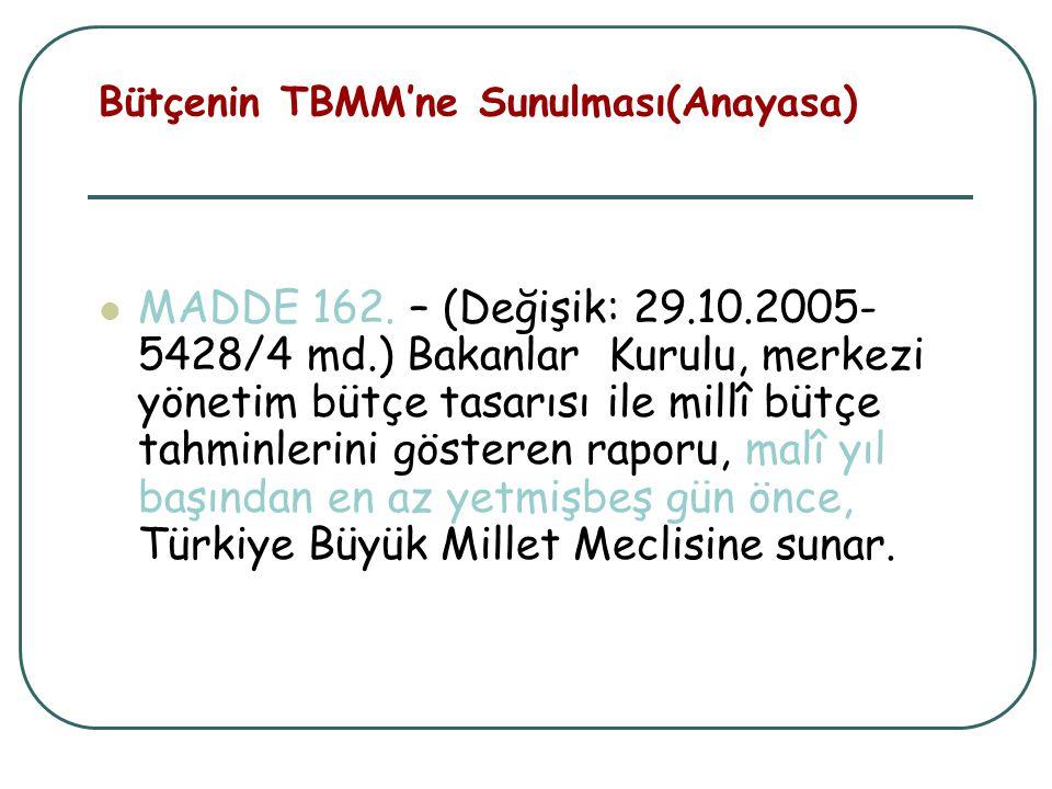 Bütçenin TBMM'ne Sunulması(Anayasa)