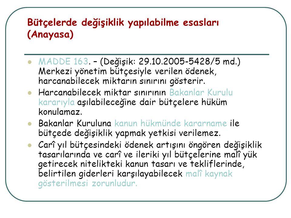 Bütçelerde değişiklik yapılabilme esasları (Anayasa)