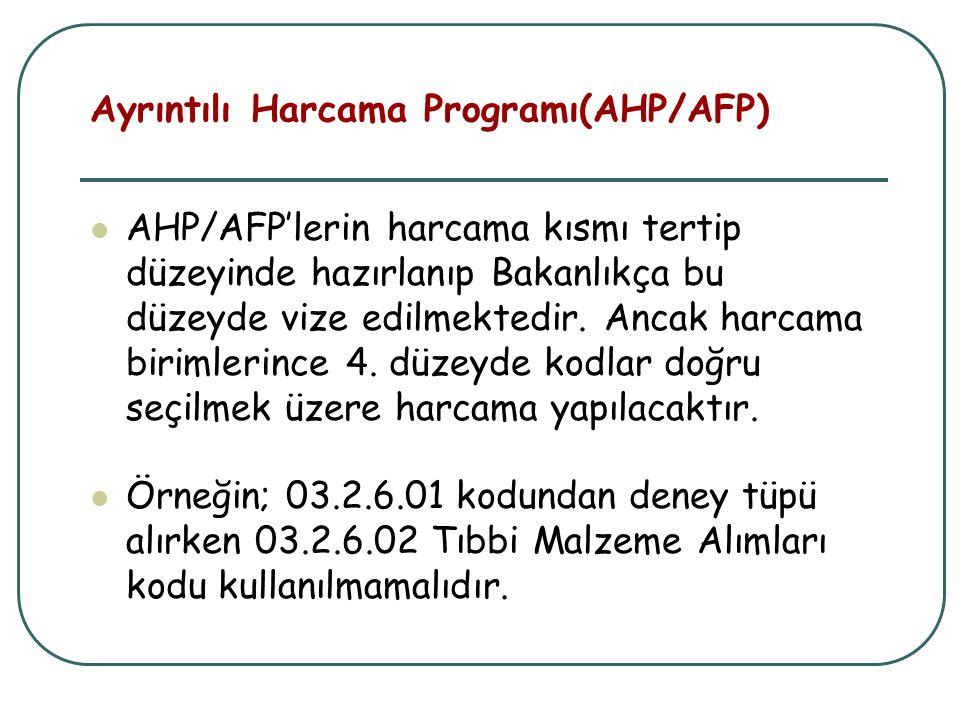 Ayrıntılı Harcama Programı(AHP/AFP)