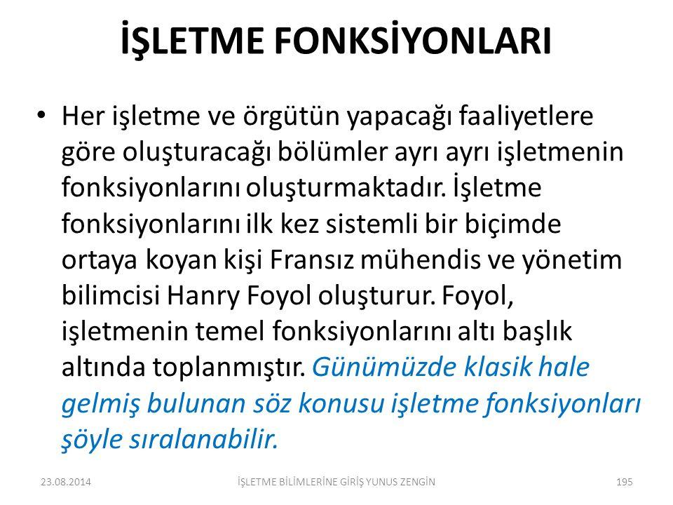 İŞLETME FONKSİYONLARI