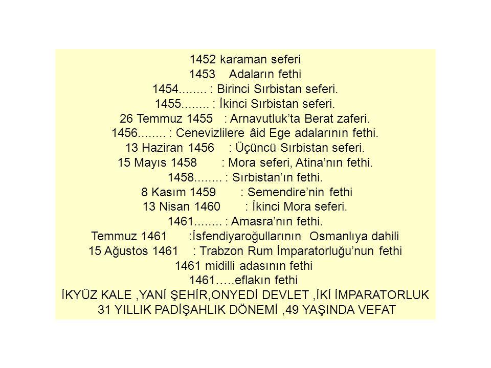 1454........ : Birinci Sırbistan seferi.