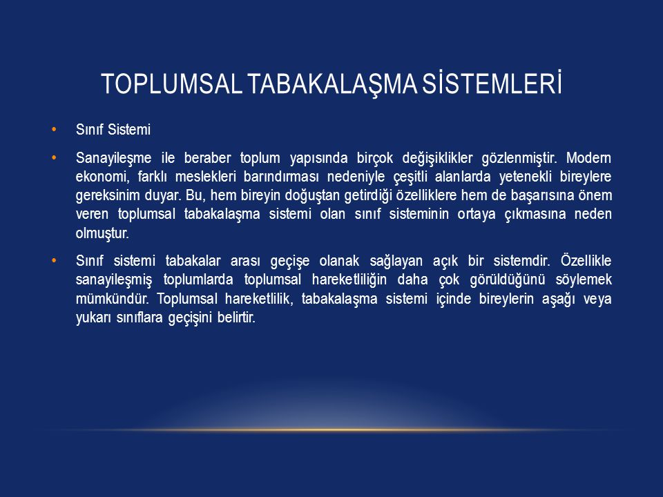 TOPLUMSAL TABAKALAŞMA SİSTEMLERİ