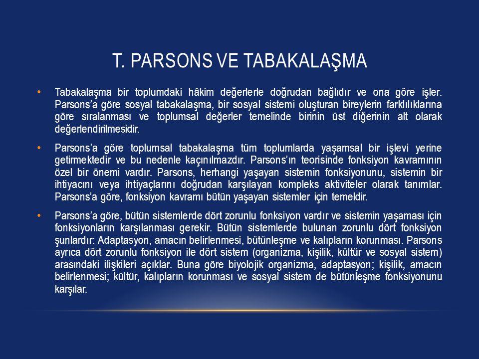 T. Parsons ve Tabakalaşma