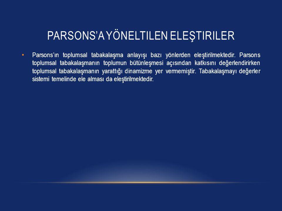 Parsons'a yöneltilen eleştiriler