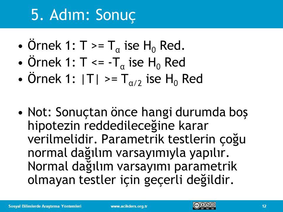 5. Adım: Sonuç Örnek 1: T >= Tα ise H0 Red.