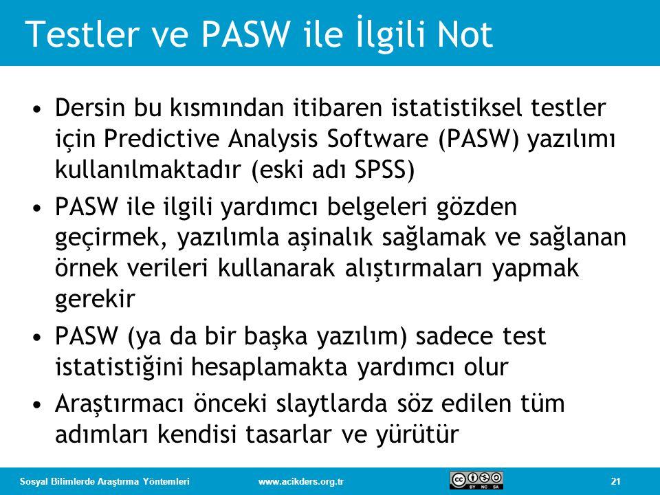 Testler ve PASW ile İlgili Not
