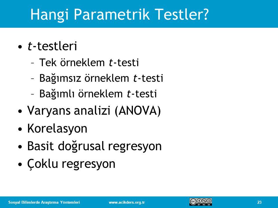 Hangi Parametrik Testler