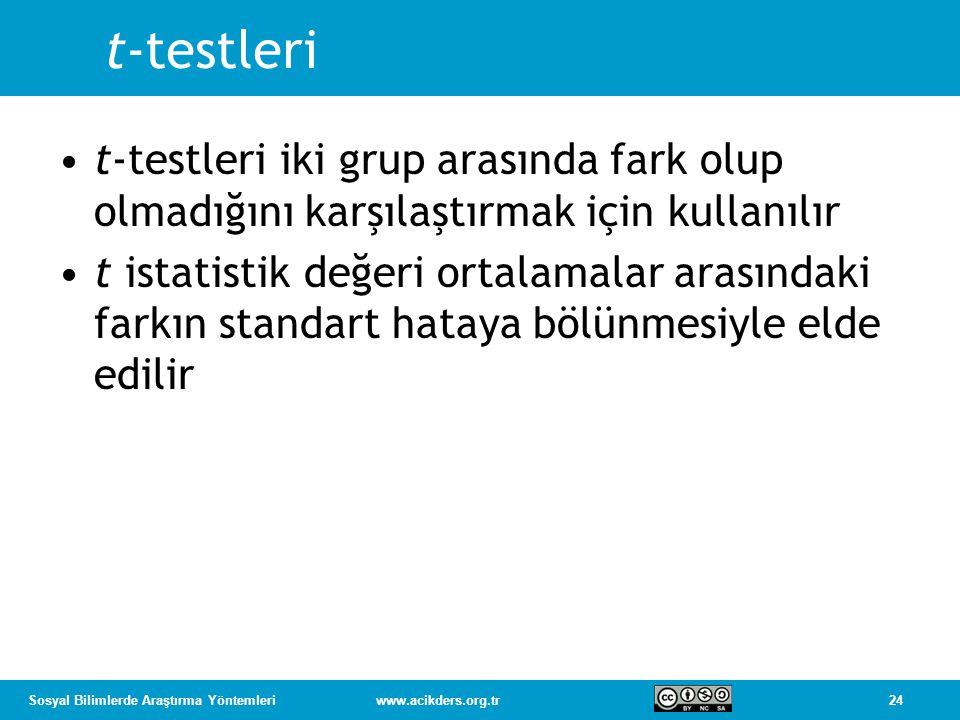 t-testleri t-testleri iki grup arasında fark olup olmadığını karşılaştırmak için kullanılır.