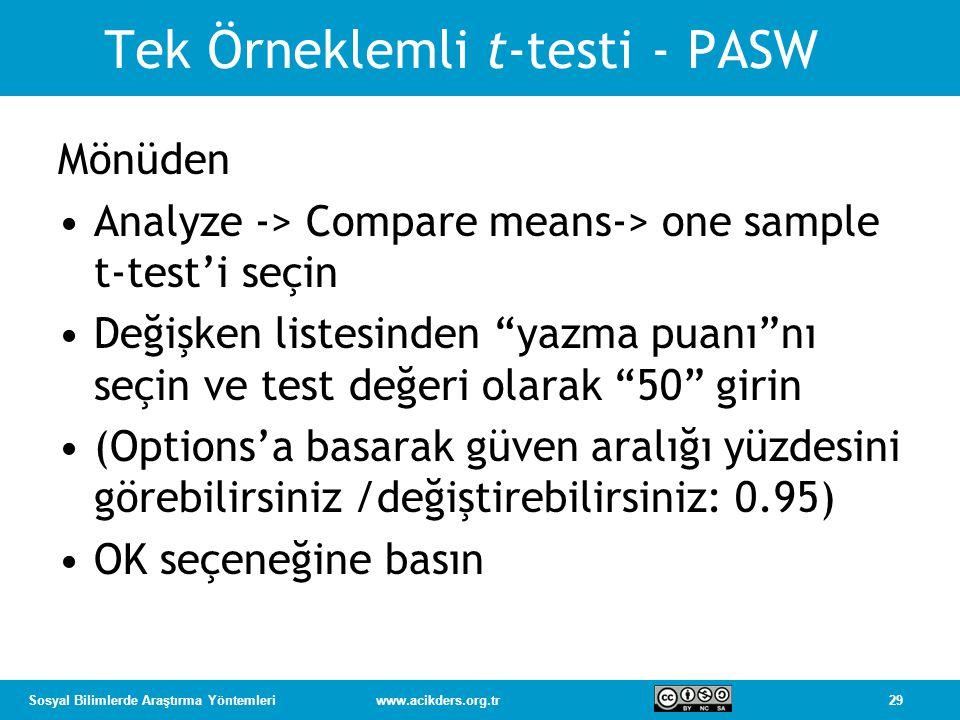 Tek Örneklemli t-testi - PASW