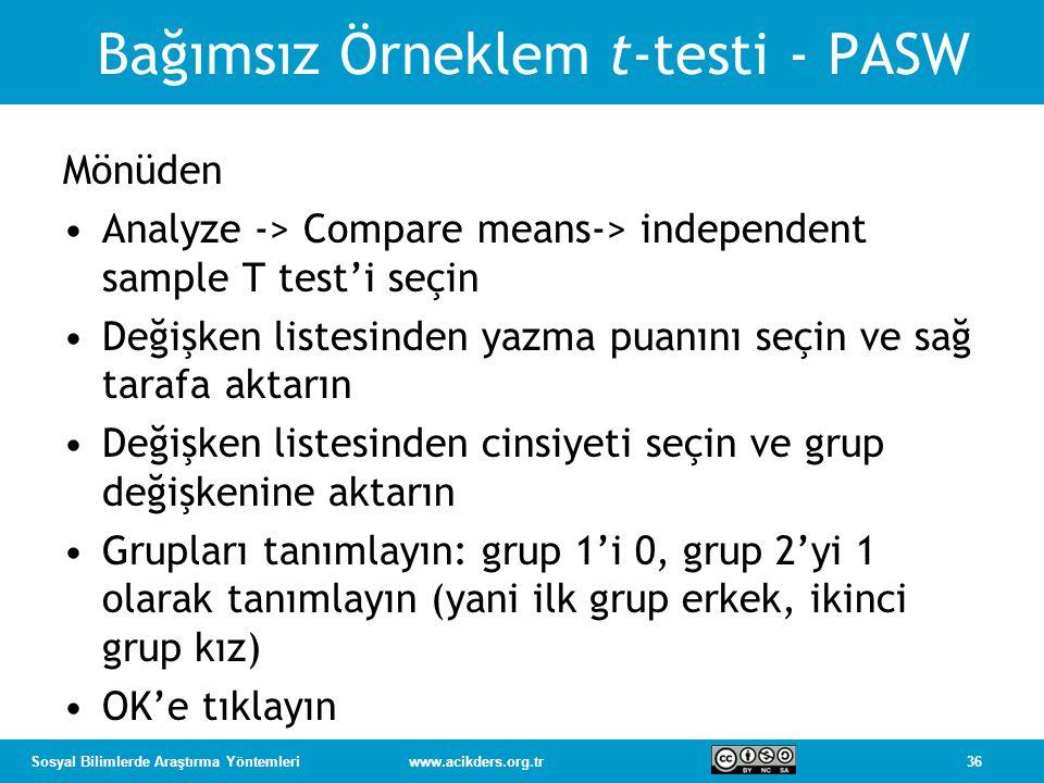 Bağımsız Örneklem t-testi - PASW