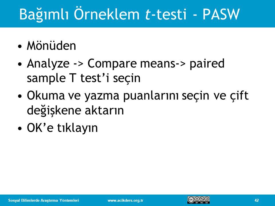 Bağımlı Örneklem t-testi - PASW