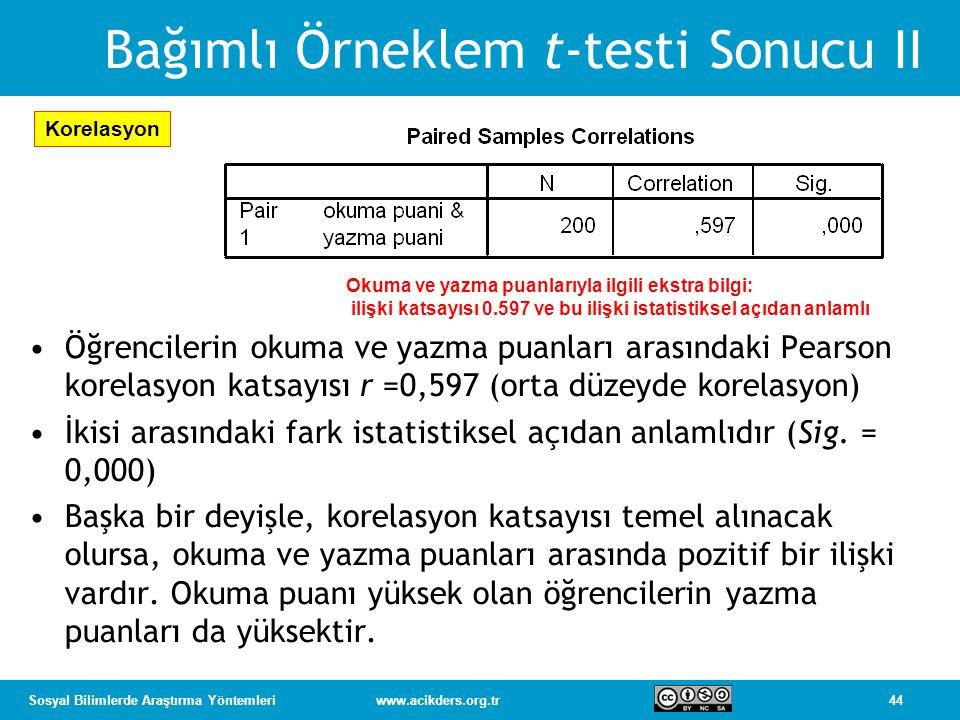 Bağımlı Örneklem t-testi Sonucu II