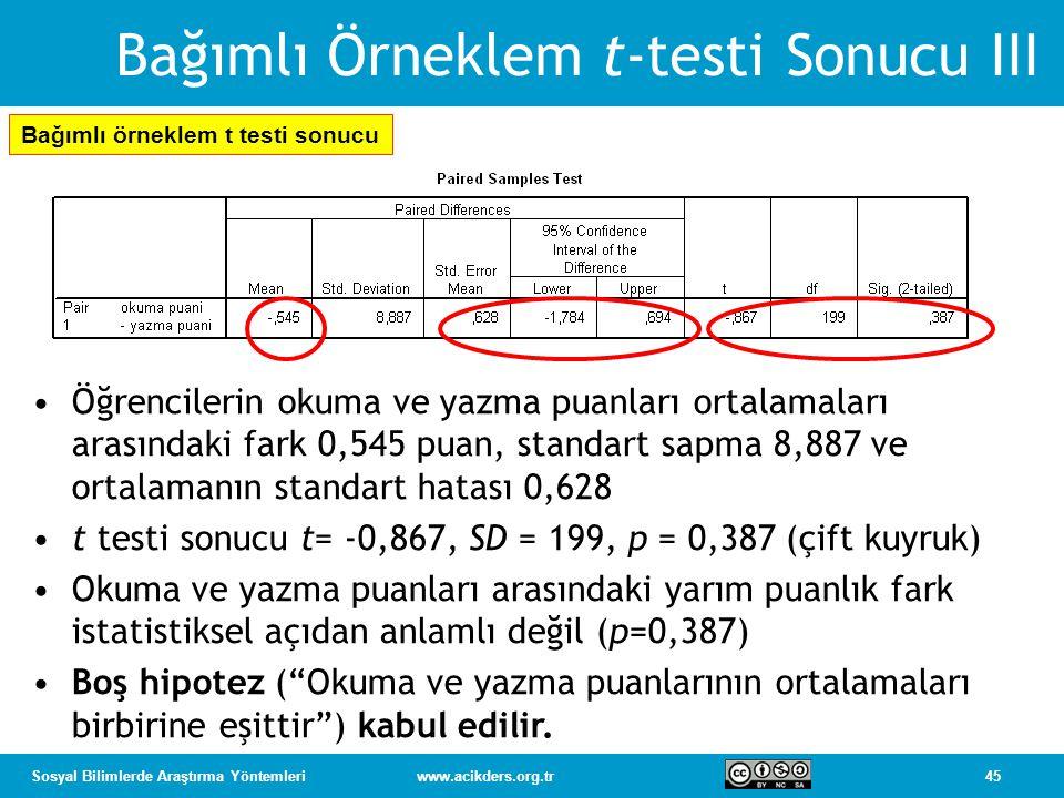 Bağımlı Örneklem t-testi Sonucu III