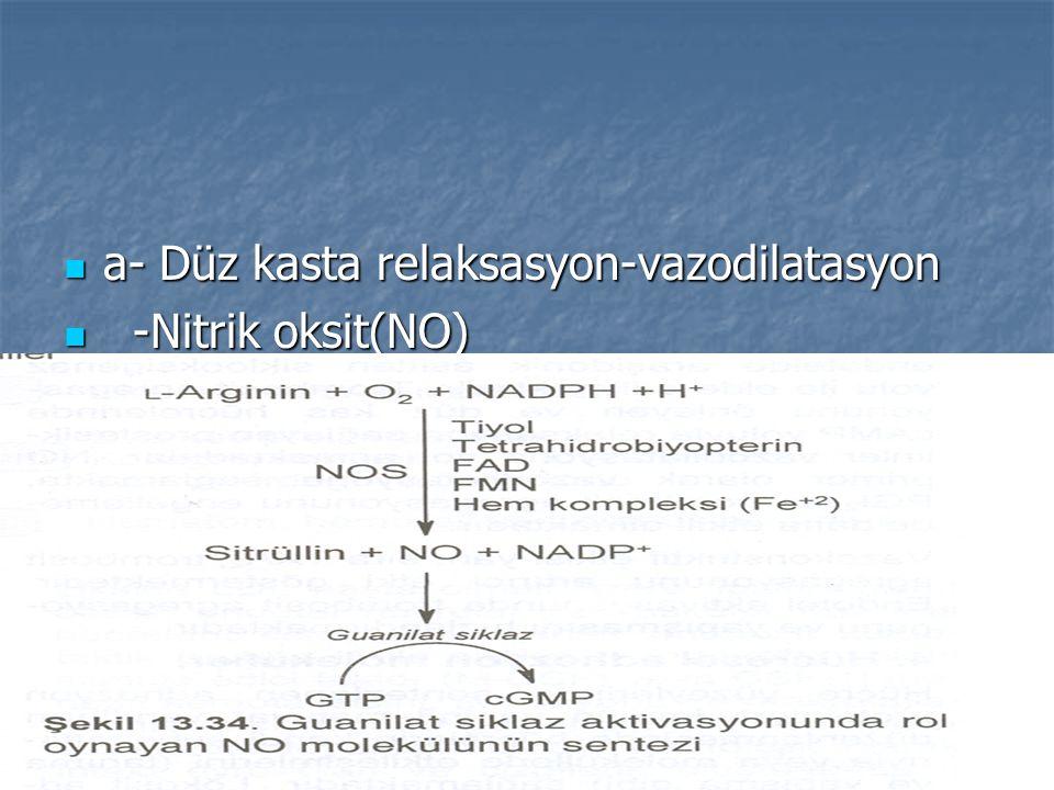 a- Düz kasta relaksasyon-vazodilatasyon