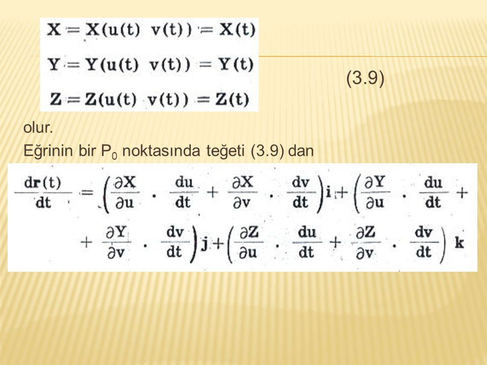 (3.9) olur. Eğrinin bir P0 noktasında teğeti (3.9) dan