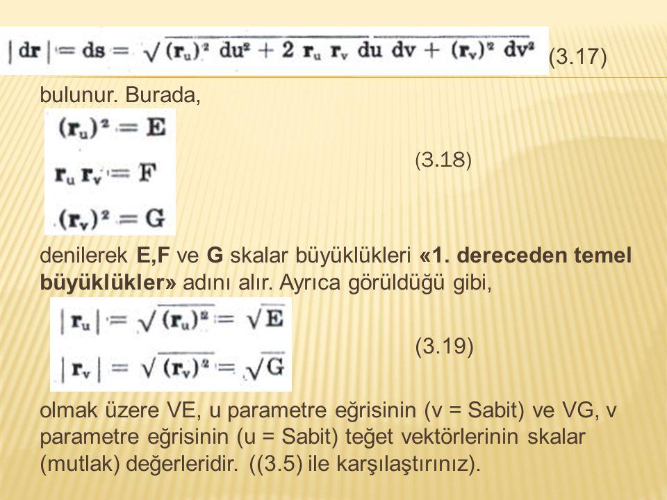 (3.17) bulunur. Burada, (3.18) denilerek E,F ve G skalar büyüklükleri «1. dereceden temel büyüklükler» adını alır. Ayrıca görüldüğü gibi,