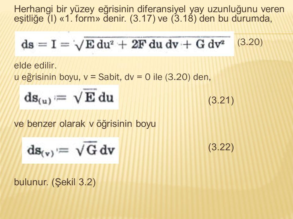 Herhangi bir yüzey eğrisinin diferansiyel yay uzunluğunu veren eşitliğe (I) «1. form» denir. (3.17) ve (3.18) den bu durumda,