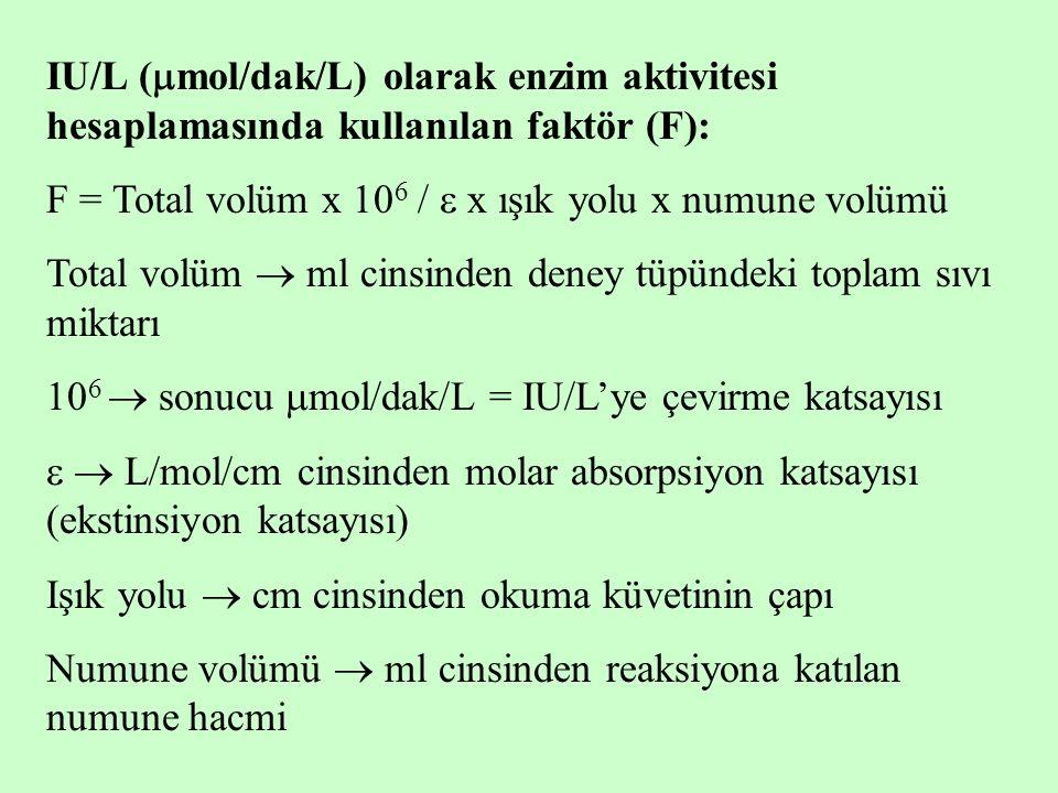IU/L (mol/dak/L) olarak enzim aktivitesi hesaplamasında kullanılan faktör (F):