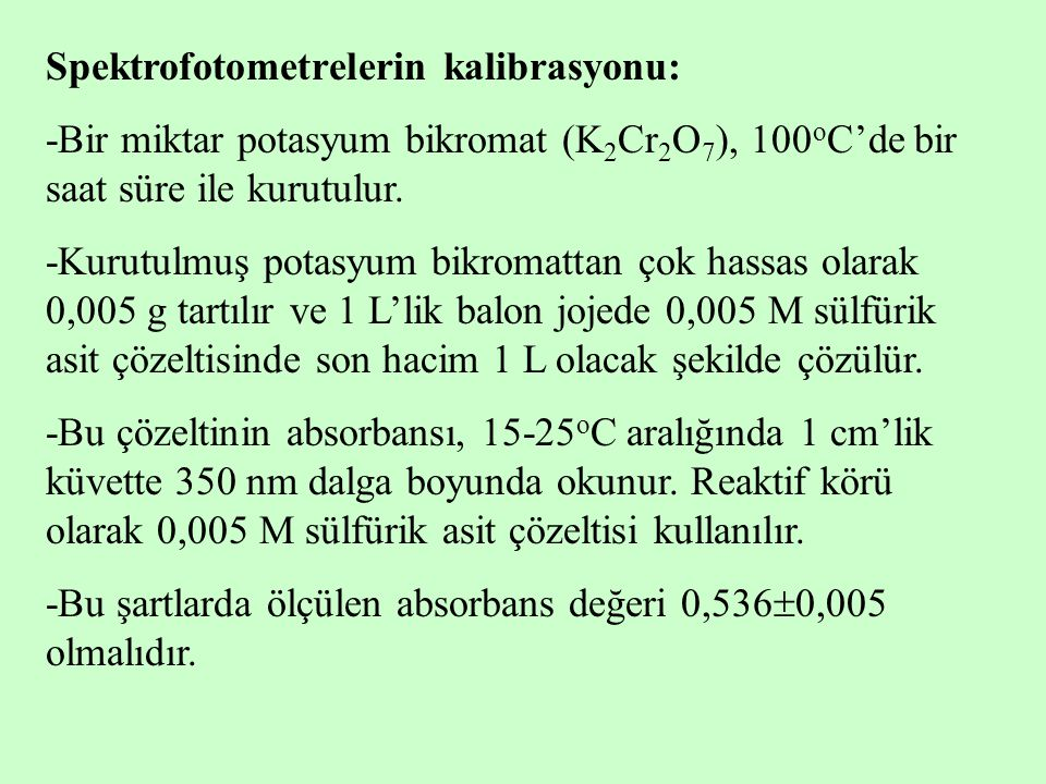 Spektrofotometrelerin kalibrasyonu: