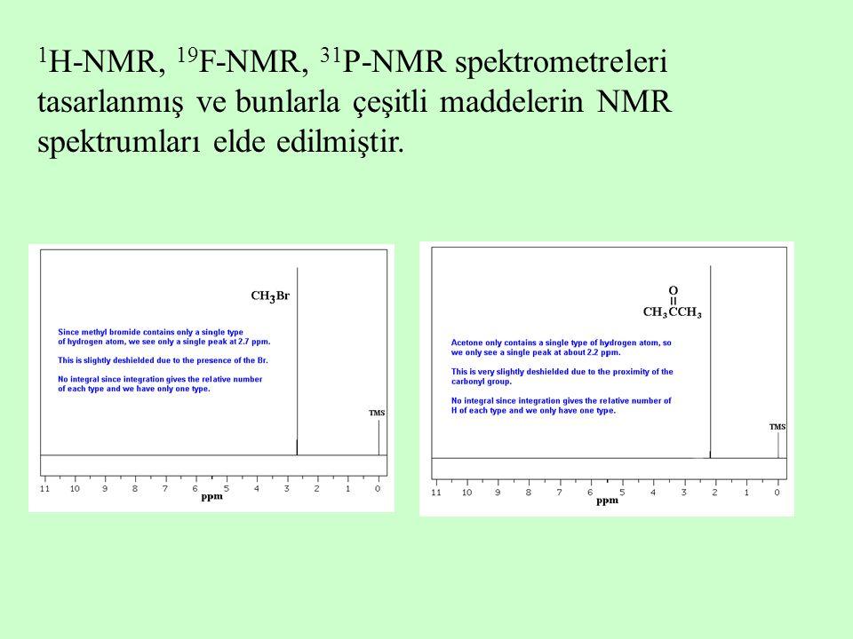 1H-NMR, 19F-NMR, 31P-NMR spektrometreleri tasarlanmış ve bunlarla çeşitli maddelerin NMR spektrumları elde edilmiştir.