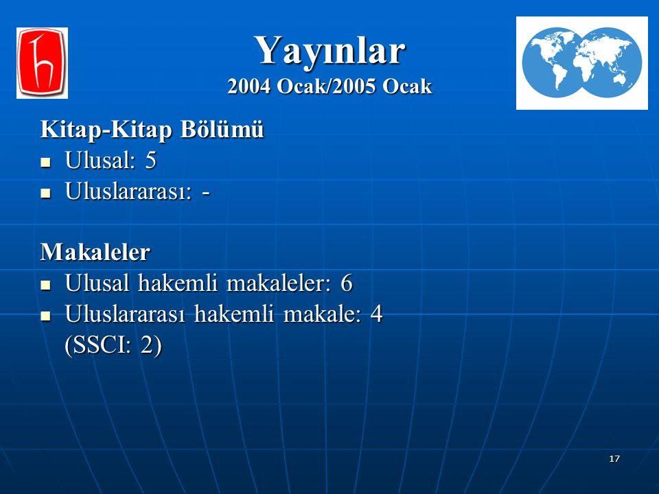 Yayınlar 2004 Ocak/2005 Ocak Kitap-Kitap Bölümü Ulusal: 5