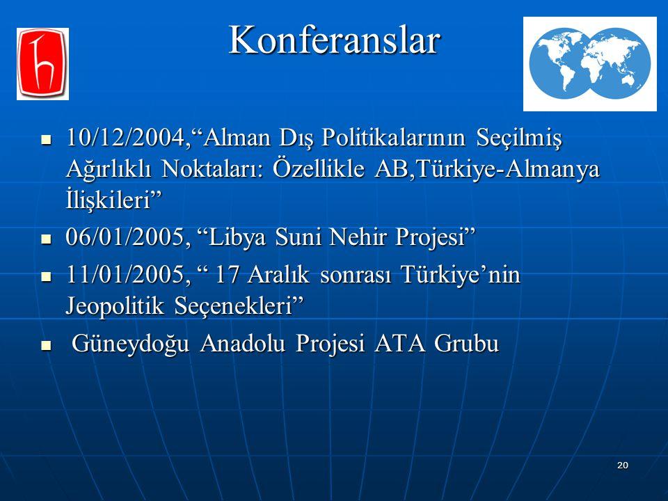 Konferanslar 10/12/2004, Alman Dış Politikalarının Seçilmiş Ağırlıklı Noktaları: Özellikle AB,Türkiye-Almanya İlişkileri
