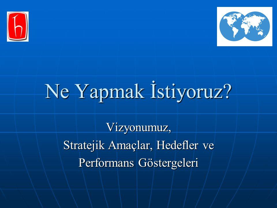 Vizyonumuz, Stratejik Amaçlar, Hedefler ve Performans Göstergeleri