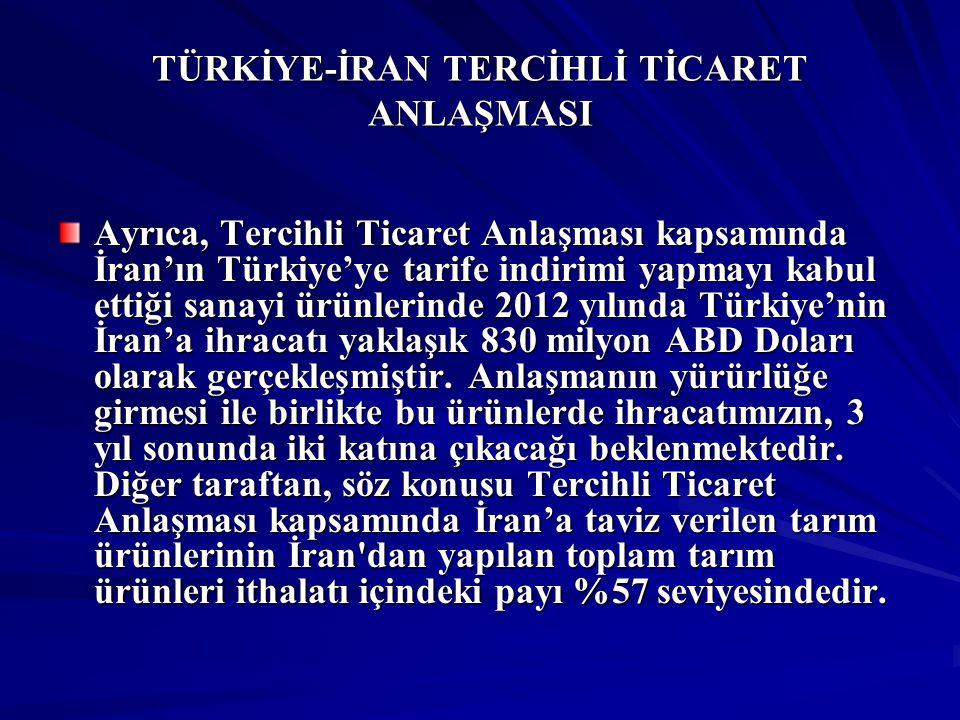 TÜRKİYE-İRAN TERCİHLİ TİCARET ANLAŞMASI