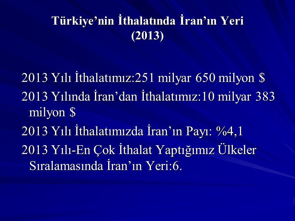 Türkiye'nin İthalatında İran'ın Yeri (2013)