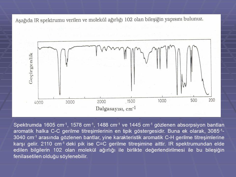 Spektrumda 1605 cm-1, 1578 cm-1, 1488 cm-1 ve 1445 cm-1 gözlenen absorpsiyon bantlan aromatik halka C-C gerilme titreşimlerinin en tipik göstergesidir.