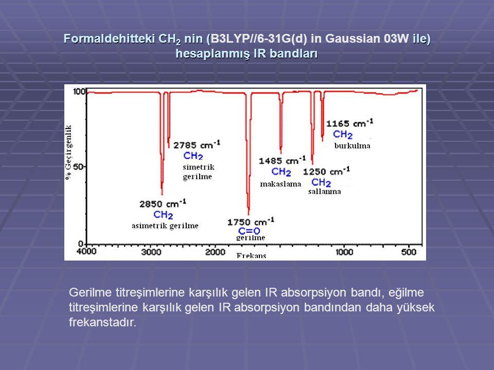 Formaldehitteki CH2 nin (B3LYP//6-31G(d) in Gaussian 03W ile) hesaplanmış IR bandları