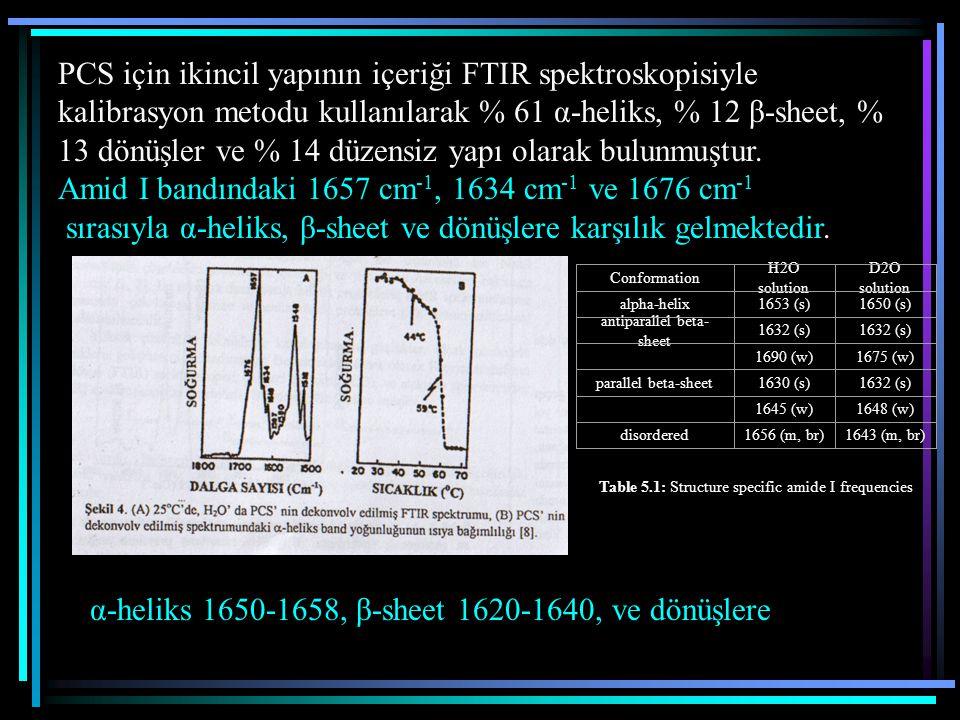 Amid I bandındaki 1657 cm-1, 1634 cm-1 ve 1676 cm-1