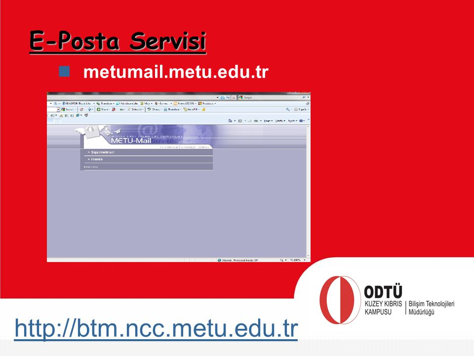 E-Posta Servisi metumail.metu.edu.tr