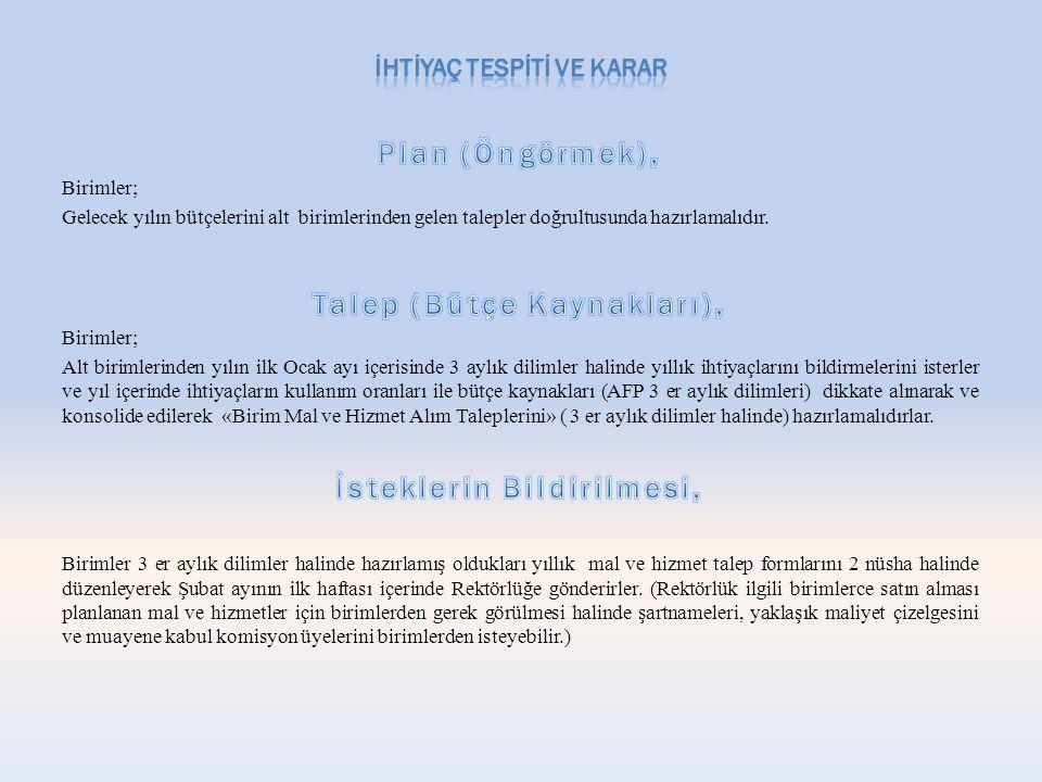 Plan (Öngörmek), Talep (Bütçe Kaynakları), İsteklerin Bildirilmesi,