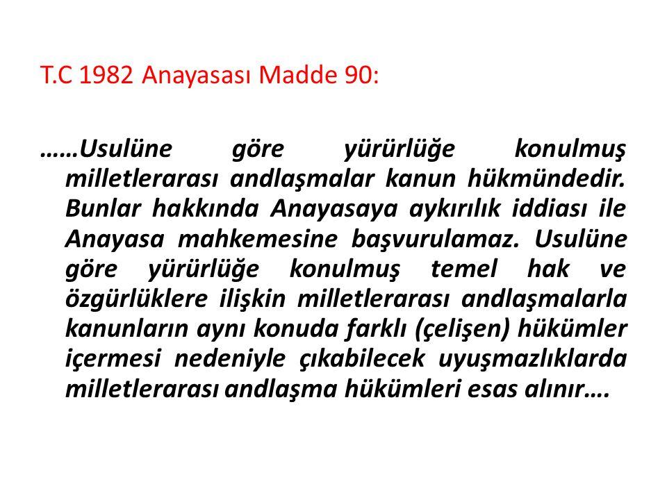 T.C 1982 Anayasası Madde 90: ……Usulüne göre yürürlüğe konulmuş milletlerarası andlaşmalar kanun hükmündedir.