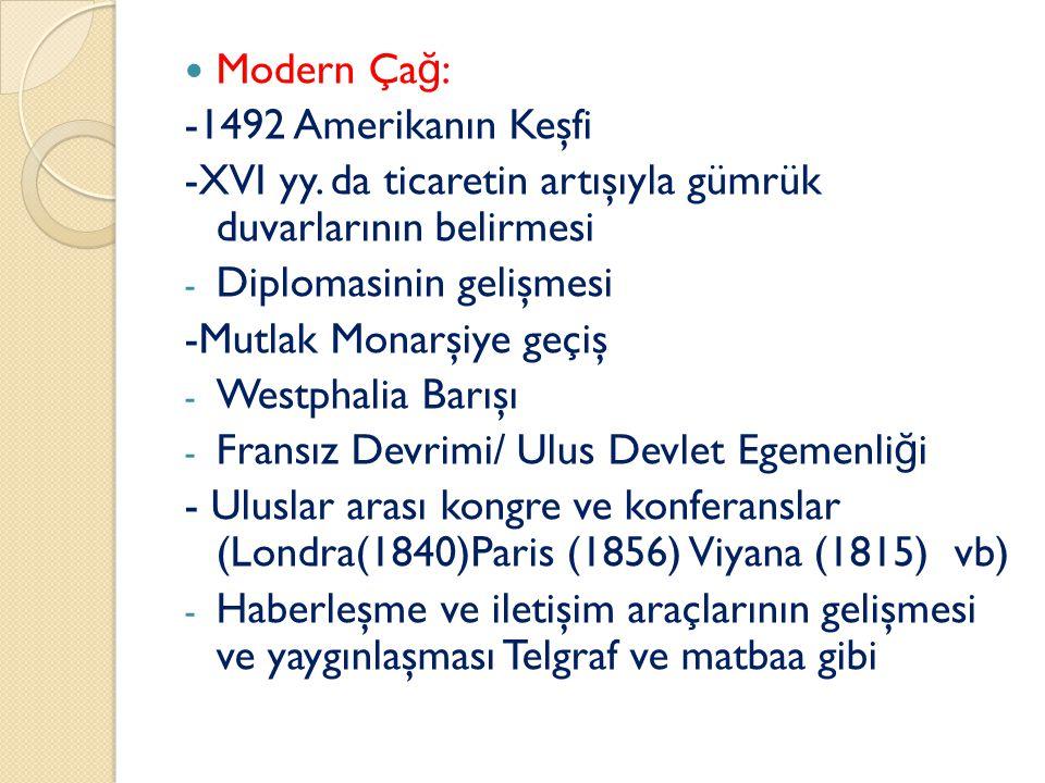 Modern Çağ: -1492 Amerikanın Keşfi. -XVI yy. da ticaretin artışıyla gümrük duvarlarının belirmesi.
