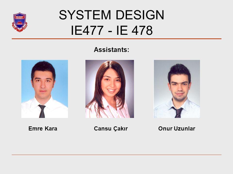 SYSTEM DESIGN IE477 - IE 478 Assistants: Emre Kara Cansu Çakır