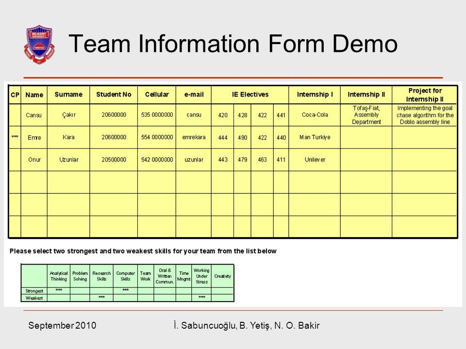 Team Information Form Demo