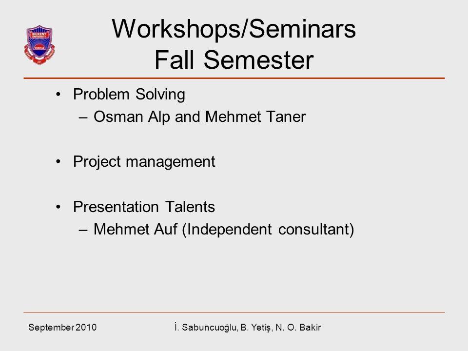 Workshops/Seminars Fall Semester